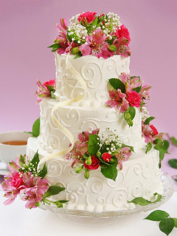 Hochzeitstorte Dreistockig Mit Bunten Blumen 007 Hochzeitstorten